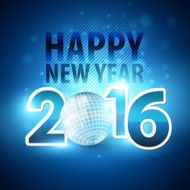 Happy New Year 2016 colorful disco lights background Vector illustration N2