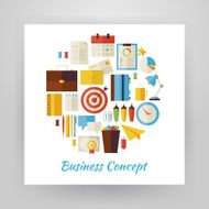 Flat Style Circle Vector Set of Business Workplace and Office