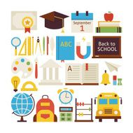 Flat Style Vector Collection of Back to School and Education