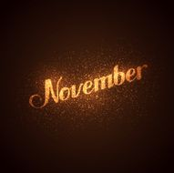 November label with glowing golden sparkles