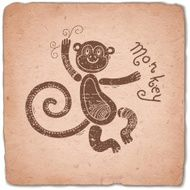 Monkey Chinese Zodiac Sign Horoscope Vintage Card