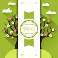 Seasonal illustration with spring tree in flat style N3