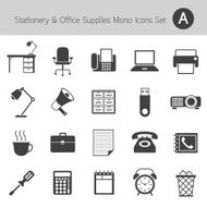 Office Supplies and Stationery Objects Mono Icons Set A