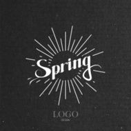 Spring season retro label with light rays