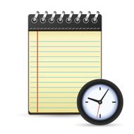 Notepad and clock icon