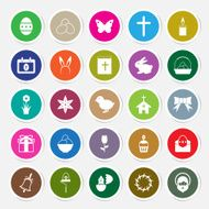 Easter icons set circle sticker vector illustration