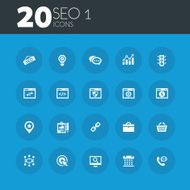 SEO 1 icons on round blue buttons
