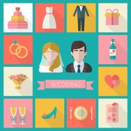 wedding icons set N3