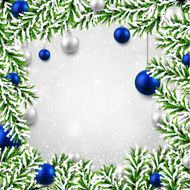 Christmas background with fir branches and balls N18