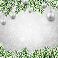 Christmas background with fir branches and balls N19