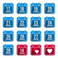 February vector flat calendar icons Days Of Year Set 10