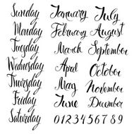 Days of the week months and numbers