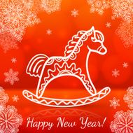 Red new year card with white paper horse