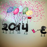 Funny 2014 New Year's Eve greeting card EPS10 N3