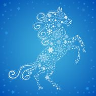 New Year card of Horse made snowflakes N3