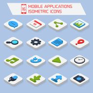 Mobile applications isometric icons N2