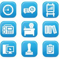 Office icons Blue buttons vector