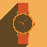 Flat long shadow icon wristwatch for web Vector