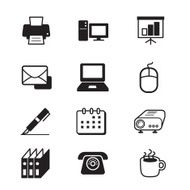 Business office tools icon set