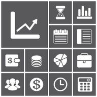 Set of flat simple icons (business financial money) vector