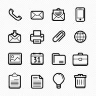 Office elements line icon set #Vector illustration
