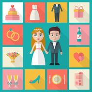 wedding icons set N4
