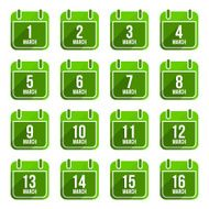 March vector flat calendar icons Days Of Year Set 11