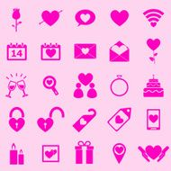 Valentine's day pink icons on light background