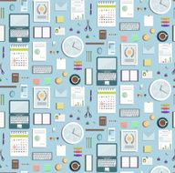Colored Seamless Pattern Office Supplies Flat Style Business Wallpaper