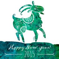Watercolor pattern goat Chinese astrological sign New Year 2015