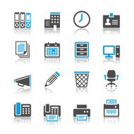 Business and office icons - reflection theme N2