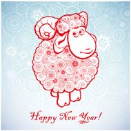 Funny sheep on white background of Snowflakes 1