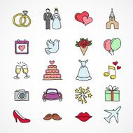 Vector hand drawn wedding icons