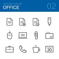 Office vector outline icon set
