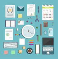 Office Supplies Collection Flat Style Illustration