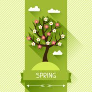 Seasonal illustration with spring tree in flat style N4