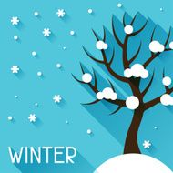 Seasonal illustration with winter tree in flat style N4