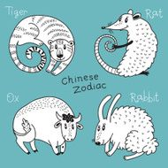 Set of the Chinese zodiac signs N5