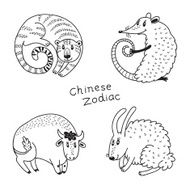 Set of the Chinese zodiac signs N6