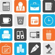 Silhouette Business and office icons N15