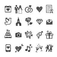 Hand drawn wedding icons made in vector on white background