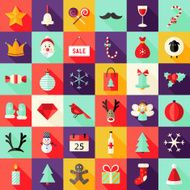 Big Christmas Squared Flat Icons Set 1