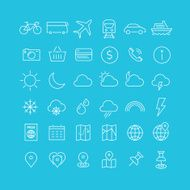 Travel linear icons 1
