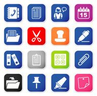 office & contacts icon set II sq stickers