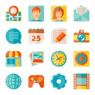 Icons web and mobile applications in flat design style