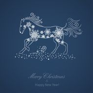 Christmas and New Year vector card with a horse