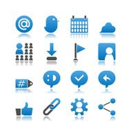 Set of 16 Social Network simple vector icons