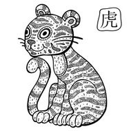 Chinese Zodiac Animal astrological sign Tiger N3