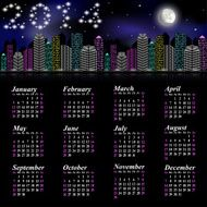 Calendar to new 2014 year - night city with moon