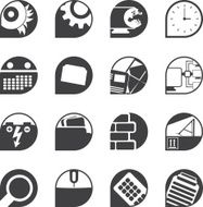 Silhouette Computer mobile phone and Internet icons N2